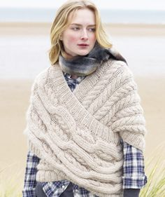 I just want to crochet something like this to wear around the house on cold mornings. This little blanket I have isn't cutting it. I wonder how much yarn it would take to do this.