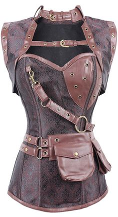 New Sexy Women Steampunk Corset Punk Brown Black Faux Leather Floral Steel Boned Bustiers Lace Up Plus Size Waist Trainer-in Bustiers & Corsets from Women's Clothing & Accessories on Aliexpress.com | Alibaba Group