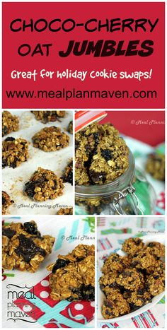 Choco-Chunk Cherry Oatmeal Jumbles l Meal Planning Maven l If you enjoy baking cookies, you will just love this easy to whip up drop batter, with its winning combo of cherries, oats, chocolate chunks and macadamia nuts. Perfect for tucking into lunch boxes or for anytime snacking, these chunky jumbles pack a mouthful of chewy goodness in every bite. Perfect for holiday gifts!
