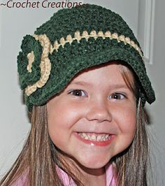 Crochet Creative Creations- Free Patterns and Instructions: brim hat Crochet Hat With Brim, Crochet Newsboy Hat, Crochet Baby Hats, Crochet For Kids, Crochet Yarn, Free Crochet, Crochet Girls, Learn To Crochet, Crocheted Hats