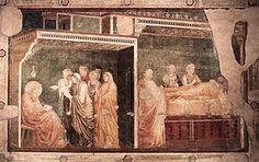 Giotto - parete sinistra - Storie di San Giovanni Battista - 2 Nascita del Battista e imposizione del nome - pittura a secco - 1318-1322 circa - Cappella Peruzzi - Basilica di Santa Croce - Firenze