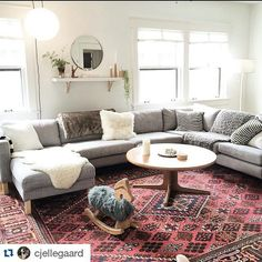 A room with the sun shining in is a happy room.and a comfy one with your KARLSTAD sofa :) Thanks f. Rugs In Living Room, Home And Living, Living Room Sofa, Happy Room, Karlstad Sofa, Minimal Living Room, Modern Furniture Living Room, Apartment Living Room, Room