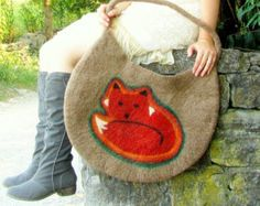 Holiday Gifts for Her. Fox Bag. Wet Felted Bag. Large Handmade Felt Tote.
