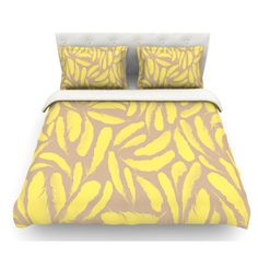 East Urban Home Feather by Skye Zambrana Featherweight Duvet Cover Color: Tan/Gold/Yellow, Size: King