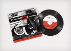 rock 'n' roll wedding invitation on a vinyl record