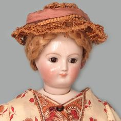 Antique Rare French Fashion China Head Doll with Brown Eyes from abigailsattic on Ruby Lane