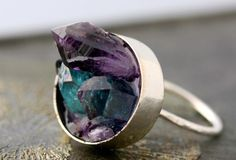 Mixed Crystal Keyhole Sterling Silver Ring Amethyst by Specimental