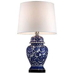 Blue and White Porcelain Temple Jar Table Lamp - #R2462 | LampsPlus.com