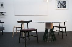Mewoma table by Jonah Tagaki , Ronin chair by Frederik Werner & Emil Lagoni Valbak for La Chance - photo by Joséphine Aury - www. Dining Table Design, Raw Wood, Decoration, Chair, Inspiration, Furniture, Cartier, Home Decor, Collections