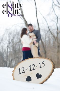 Engagement session photos used for wedding invitiations or save the dates in the winter with dog included Cleveland Akron Northeast Ohio Wedding Photography © Eighty Eight Photo www.EightyEightPhoto.com