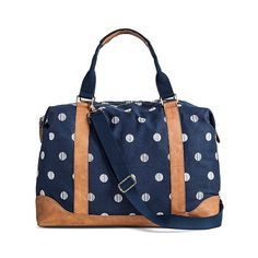 Women's Polka Dot Print Canvas Weekender Handbag with Removeable... (€31) ❤ liked on Polyvore featuring bags, handbags, shoulder bags, navy, overnight bag, handbags purses, weekender bag, handbags shoulder bags and shoulder strap bag