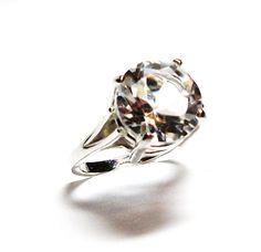 "Quartz, white quartz, quartz ring, cocktail ring, solitaire ring, white, s 6 1/2 ""Starry Eyed"" by Michaelangelas on Etsy"