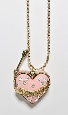 Chickadee Fashions - Betsey Johnson Pink Heart Locket Necklace, $14.95 (http://www.chickadeefashions.com/products/betsey-johnson-pink-heart-locket-necklace.html)