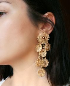 Gold long crochet earrings #statementearrings #handmade #jewelry #goldearrings #jewelryonetsy  #shopsmall #etsyfinds #handmadehour