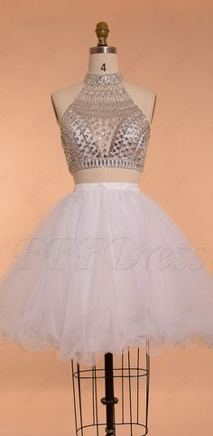 crystals sparkle two piece short prom dresses puffy homecoming dresses high neck backless prom dress Puffy Prom Dresses, Grad Dresses Short, Hoco Dresses, Backless Prom Dresses, Dance Dresses, Pretty Dresses, Homecoming Dresses, Short Prom, Mermaid Dresses