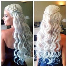 long platinum / white blonde hair -- Daenerys Targaryen / Khaleesi braid hairstyle