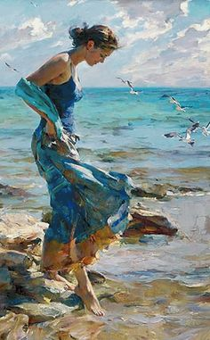 ble - woman - sea - figurative painting - Vladimir Volegov