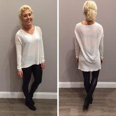 We love this soft, white hi-lo sweater! - $54 #newarrival #fallfashion #backtoschool  #apricotlanedesmoines…