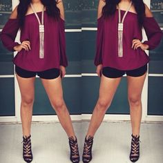 Raspberry Off the Shoulder Top Leather Shorts Chinese Laundry Heels