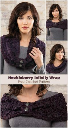 Huckleberry Infinity Wrap [Free Crochet Pattern] Follow us for more FREE crochet patterns for shawls, cowls and many more.