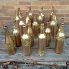 Bottles decorated for Christmas