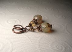 Earth Tone Picasso Czech Glass Antique Copper by TwinFlameDesigns, $14.99