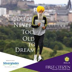 You're Never Too Old to #Dream!  In February 2013, Fauja Singh became the oldest person to run a marathon at the age of 101, completing a 6.25 kilometer race in Hong Kong in one hour, 32 minutes, and 28 seconds. Astonishingly, Singh only came to racing at age 89 after losing his wife and son, but since then he has completed 8 competitive races.  #LifeAfter60 #Inspirational #Success #Elderly #Focused #LiveInStyle   #Lifestyle Toronto Waterfront Marathon, Fauja Singh, Centenarian, Old Person, London Marathon, Record Holder, Never Too Old, Live In Style, Marathon Runners