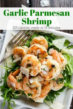 Garlic Parmesan Shrimp - Slender Kitchen. Works for Gluten Free, Low Carb and Weight Watchers® diets. 214 Calories.