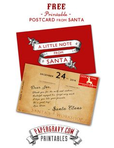 Free Postcard from Santa Claus. . . and more free printable for other occasions.