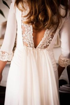 plunging back lace wedding dress