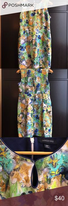 """🎊💚🎉SUNDAY SALE🎊💚🎉 Land's End Floral Dress Color Yourself Lovely With This Beautiful Floral Dress. Guaranteed To Make A Statement And Is Perfect For Any Occasion. Get Ready To Receive Many Compliments.   Details: 🌱Pre-Loved & In Excellent Condition  🌱Keyhole Opening In Front 🌱Two Front Pockets 🌱58% Baumwolle (Cotton) 🌱38% Vislose (Rayon) 🌱4% Elastane 🌱Thick Material  App Measurements (Laying Flat): 🌱Underarm To Underarm 17-1/2"""" 🌱Mid-Width 15-1/4"""" 🌱Bottom-Width 22"""" 🌱Top To…"""