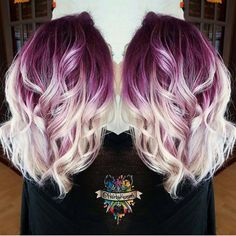 Plum purple hair color base with billowy white blonde hair by @hairbykasey…