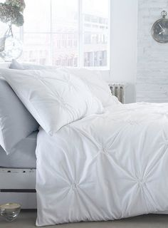 Cotton circle knot white bedding set