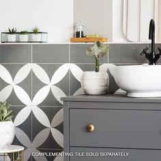 Make a great statement in your home by installing this Merola Tile Twenties Petal Ceramic Floor and Wall Tile. Bathroom Flooring, Kitchen Flooring, Bathroom Wall, Small Bathroom, Master Bathroom, Bathroom Ideas, Shower Floor, Tile Floor, Online Tile Store