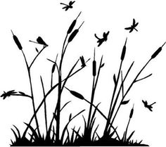 """Dragonfly Reeds Vinyl Wall Decal 32"""" x 23"""" $24.99 Ninja Gear, Engraving Ideas, Tall Flowers, Grasses, Vinyl Wall Decals, Silhouette Cameo, Dandelion, Cute Animals, Hair Accessories"""