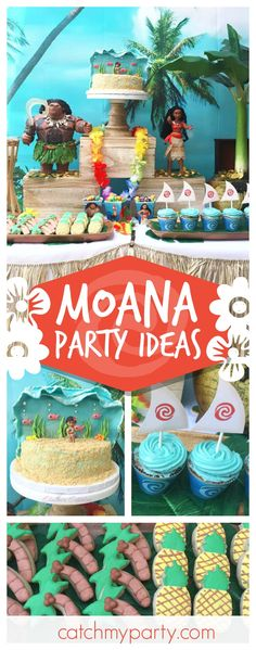 Travel across the ocean with this wonderful Moana birthday party. The birthday cake is amazing!! See more party ideas and share yours at CatchMyParty.com