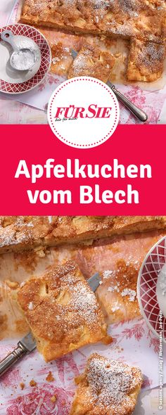 Rezept für Apfelkuchen vom Blech Cereal, French Toast, Cupcakes, Breakfast, Desserts, Apple Crumble Recipe, German Apple Cake, Fried Apples, Apple Recipes