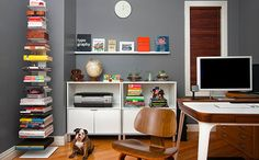 This book shelf is a great idea for the school counselor's office--store games and books