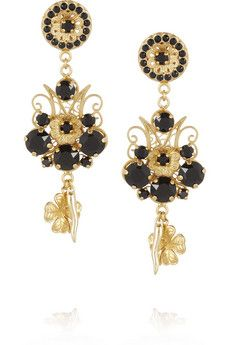 Dolce & Gabbana Pizzo Nero gold-plated Swarovski crystal clip earrings | NET-A-PORTER