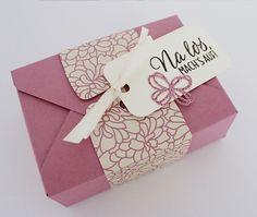 Geschenkbox, gemacht mir dem Stanz- und Falzbrett für Umschläge von Stampin up