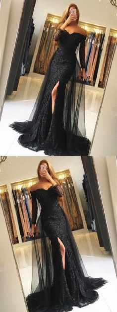 Outlet Popular Lace Black Prom Dress Black Lace Tulle Newest Mermaid Prom Dress, Long Sleeves Prom Dresses, Evening Dress, Black Lace Tulle Newest Mermaid Prom Dress Prom Dresses Long With Sleeves, Prom Dresses 2018, Formal Dresses For Women, Cheap Prom Dresses, Dress Prom, Prom Gowns, Dress Formal, Formal Prom, Long Dresses