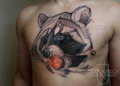 Peter Aurisch - Abstract Chest Raccoon Tattoo