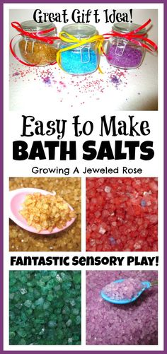 Bath Salts-epsom salts, food coloring, essential oil for scent. Use for sensory experience by itself, making soup or tea in the bath, mix primary colors to explore color making
