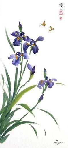 Chinese Brush Painting: iris