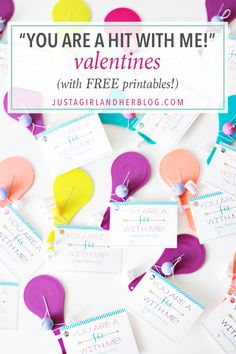 """Don't miss theses """"You are a hit with me!"""" free printable Valentines-- the kids will love them! Click over to the post to snag them!"""