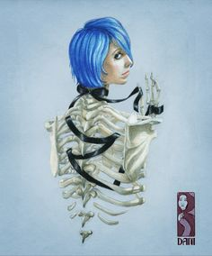 """""""Delicate Courage"""" Copyright 2015 Danielle Rodgers. Color pencil illustration on toned tan paper. Concept design involving an exposed ribcage on a beautiful blue haired girl. Visit my website or follow me at dani.design.art on instagram"""