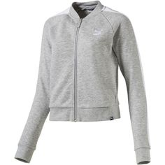 Puma Women's Archive Logo T7 Track Jacket Grey Jackets S ($55) ❤ liked on Polyvore featuring activewear, activewear jackets, grey, logo sportswear, track jacket, puma activewear, puma sportswear and track top