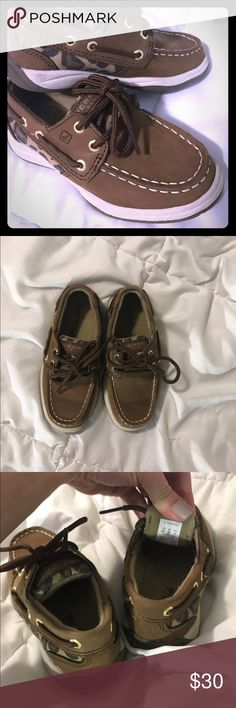 Children's Sperrys Brown and cheetah print toddler girl Sperrys.. size 9 worn 2x Shoes Flats & Loafers