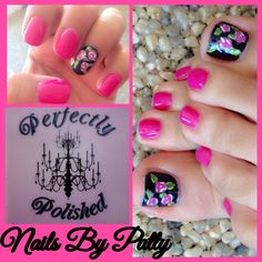 Gel over natural nails toes and nails #flowers #gel #nails #nailart