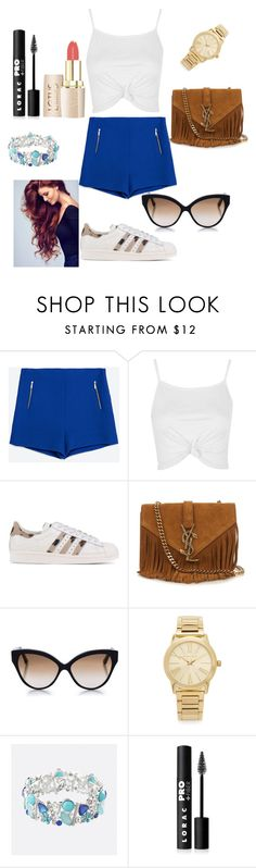 """""""Parfait"""" by paloma13005 ❤ liked on Polyvore featuring Zara, Topshop, adidas Originals, Yves Saint Laurent, Cutler and Gross, Michael Kors, Avenue and LORAC"""